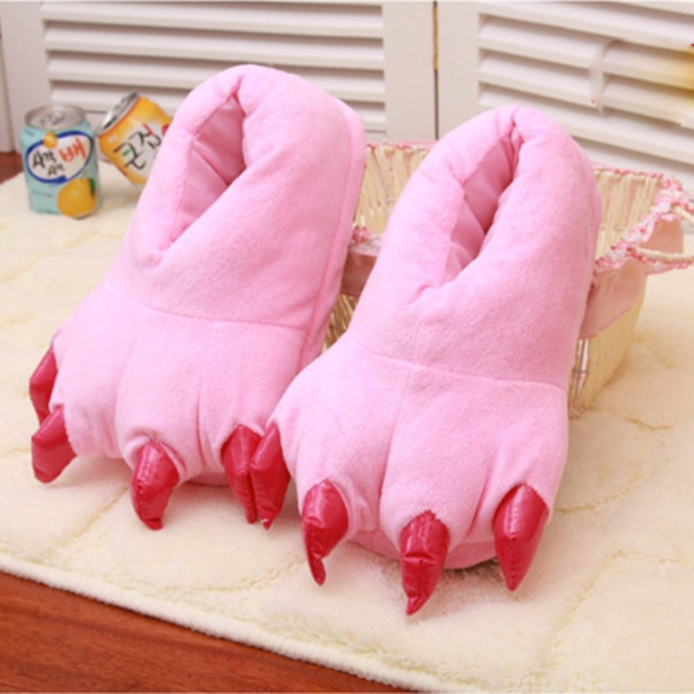 Winter Warm Soft indoor floor Slippers Women Men Children Shoes Paw Funny Animal Christmas Monster Dinosaur Claw Plush Home plush winter slippers indoor animal emoji furry house home with fur flip flops women fluffy rihanna slides fenty shoes