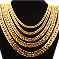 "Perfect Gold Plated 6/8/10/12/14mm Wide Cuban Link Chain Stainless Steel Bracelet/Necklace Cool Men's Jewelry 7-40"" Custom Sizes"