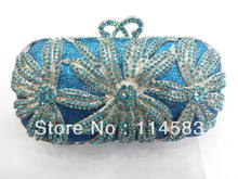 #1518 BLUE Crystal Flower Floral Lily Bridal Party hollow Metal Evening purse clutch bag handbag
