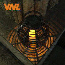 VNL Waterproof IP65 LED Solar Powered Candle Lantern With Flickering Amber LED Rattan Lamp Outdoor Decorative Garden Lights