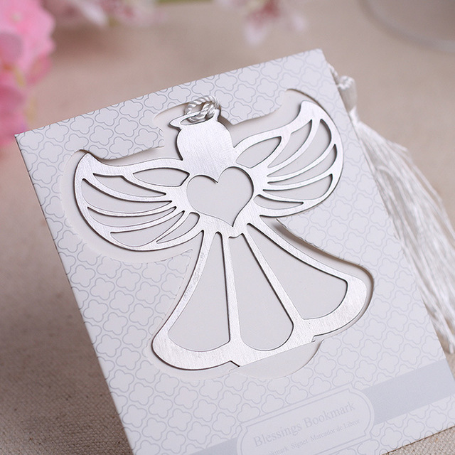 "(50pcs/lot)FREE SHIPPING+""Blessings"" Metal Angel Bookmark With a Lovely White Tassel Baby Christening Souvenir Wedding Favors"