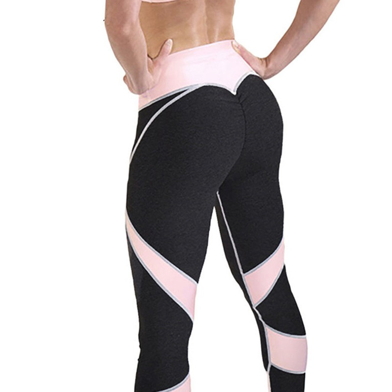 Women Casual Skinny Fitness Trousers Fashion High Waist Elastic Slim Pink Patchwork Long Pencil Pants Workout Leggings