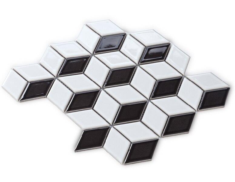 3D Black <font><b>white</b></font> ceramic <font><b>mosaic</b></font> <font><b>tiles</b></font>,Diamond design ceramic <font><b>tiles</b></font>,Home,Bathroon toilet wall floor/Kitchen backsplash <font><b>tiles</b></font>,EOM001
