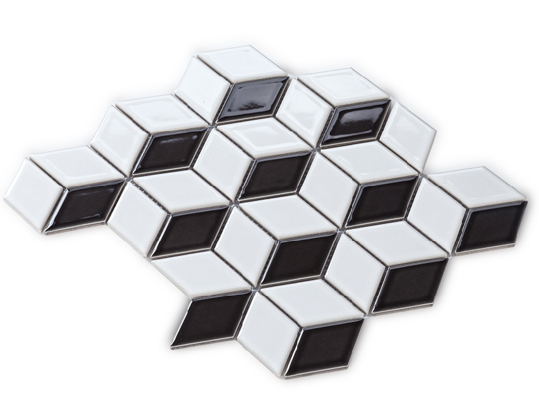 3d black white ceramic mosaic tiles diamond design ceramic for Black 3d tiles wallpaper