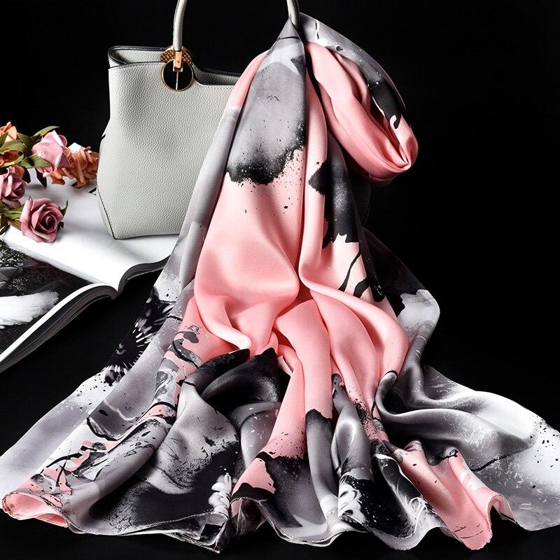 100% Pure Zijde Sjaal Dames Luxe Merk 2019 Hangzhou Zijde Sjaals en Wraps voor Vrouwen Double layer Natuurlijke Echte zijden Sjaals - 3