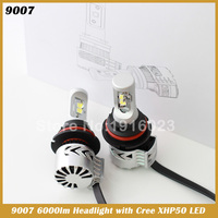 72W 6000LM XHP50 LED Headlight Conversion Kit 9007 HB5 Hi Lo Beam Bulbs