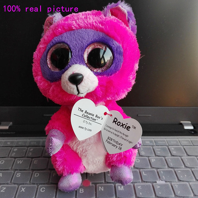 abf66668956 In Stock Original Ty Beanie Boos Big Eyed Stuffed Animal ROXIE -  pink purple raccoon