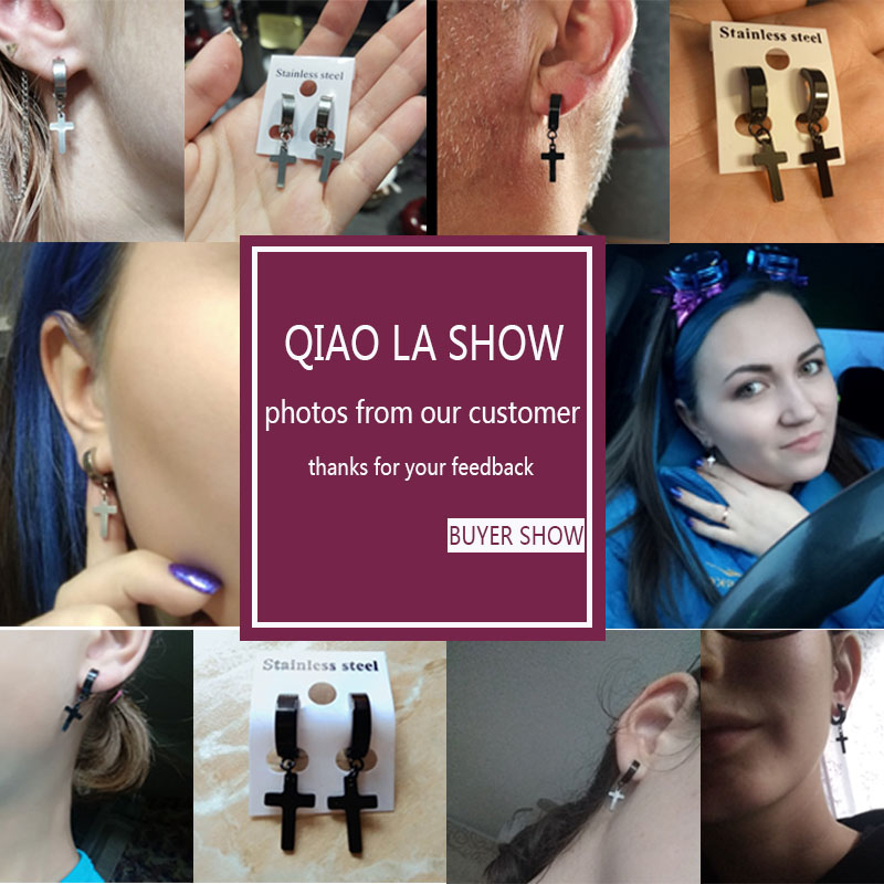 1 pair Punk Silver Plated Black Mix Style Stainless Steel Earrings For Women Men Gothic HipHop Cross Earrings Jewelry Mujer Moda