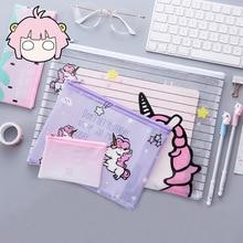 Kawaii Popular Unicorn Colorful File Bag Document Bag File Folder Stationery Filing Production