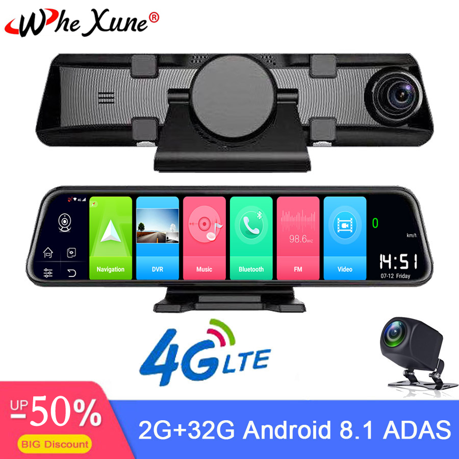 WHEXUNE New 4G Car DVR 12 Inch Android 8.1 Smart Rearview Mirror Navigation Full HD Dual 1080P Camera With Bluetooth WIFI RAM 2G
