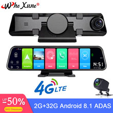 WHEXUNE New 4G Car DVR 12 inch Android 8.1 smart rearview mirror navigation Full HD dual 1080P camera with Bluetooth WIFI RAM 2G(China)