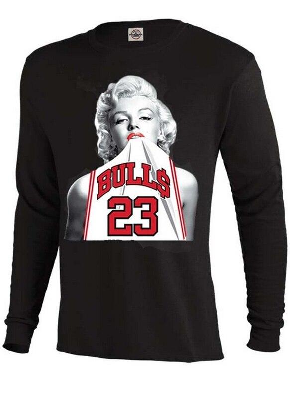 Men's T Shirt Marilyn Monroe Wearing michael #23 Long Sleeve Black T-shirt Custom Summer Top Design Tee Shirts Adult Size S-3XL