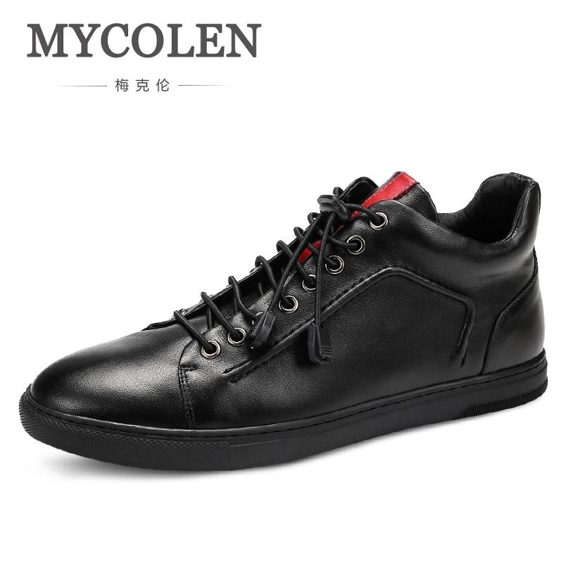 faef2a24 Mycolen Горячие Мужская обувь модные теплые Мужские зимние ботинки осень  кожаная обувь для мужчин Новые Высокие Повседневная парусиновая обув.