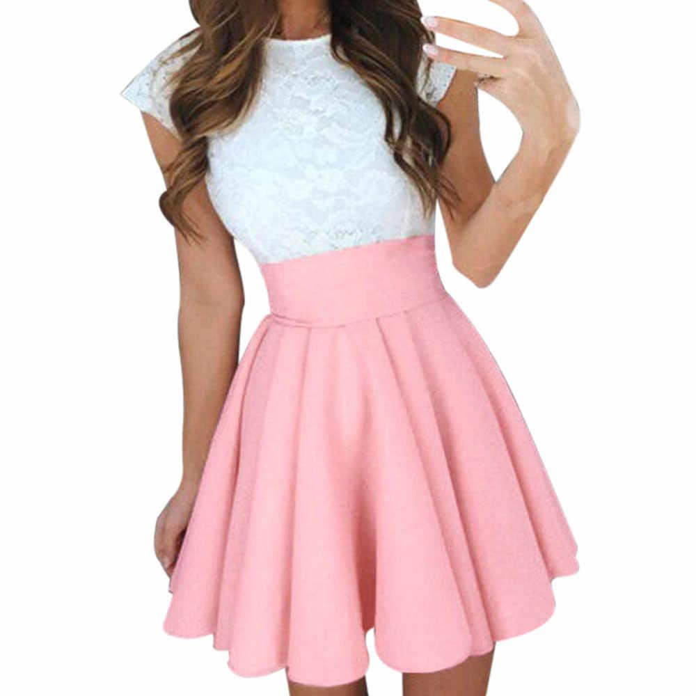 c965a377 Faldas Midi mujer verano sólido alta cintura simple Skater falda señoras  fiesta cóctel Mini Faldas Cortas # YL