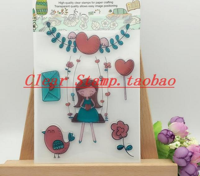 DIY Scrapbook Albums Balloon Rubber Stamp Scrapbook Album PDA Cake Dog Seal Transparent Retro Girl Seal Ball Animal Clear Stamps scrapbook diy photo album card hand account rubber seal product seal transparent seal stamp cat