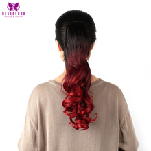 Neverland 20″ 50cm Synthetic Wavy Hair Tail Claw On Hair Extensions Rainbow Ombre Ponytails for Women Free Shipping