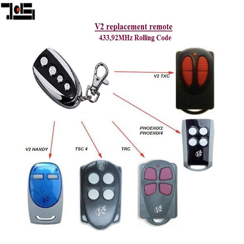 For V2 PHOENIX 2, 4, TSC2, TSC4,  TRC2, TRC4, TXC2, TXC4, HANDY2, HANDY4  Replacement Remote