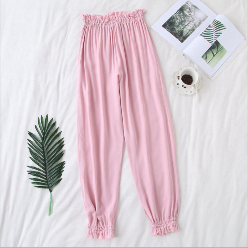 New arrival women sleep bottoms cotton pijamas elastic material elegant clothes comfortable elegant simple full length