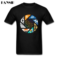 Cryptocurrency Bitcoin Litecoin Dash Zcash Ethereum Monero Homme T Shirt Short Sleeve O Neck Cotton Men
