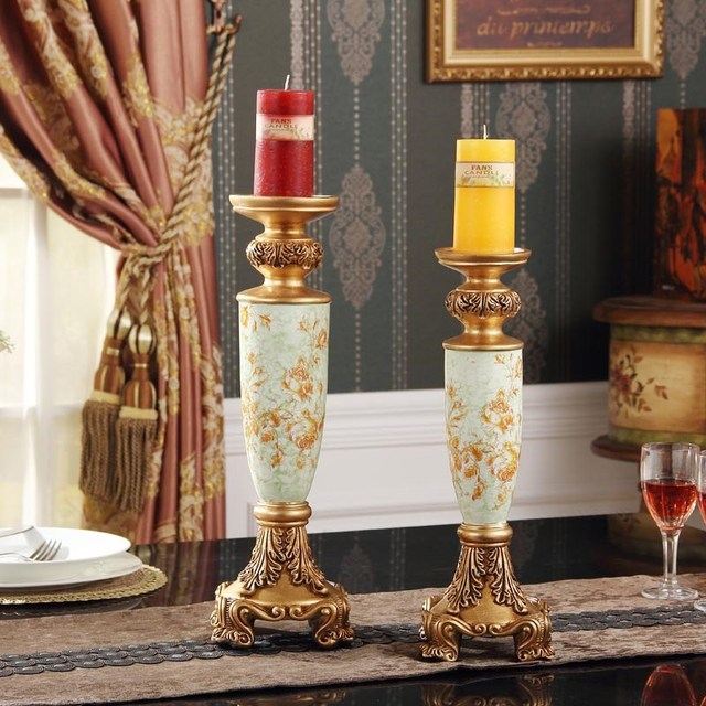 Retro Luxury Decor Decoration Crafts Resin Candlestick Home Furnishing Festive Candles Taiwan Table Furnishings