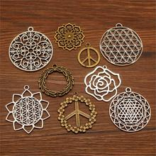 3 Piece Peace Sign Pendant Mix Charms Metal For Jewelry Making Diy Craft Supplies Flower Charm