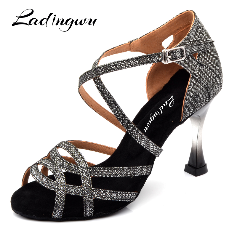 Ladingwu Brands Dance Shoes Women Gray Glitter Salsa Dance Shoes Gradient Gold Plated Heel 7.5cm 9cm Latin Dancing Shoes Sandals