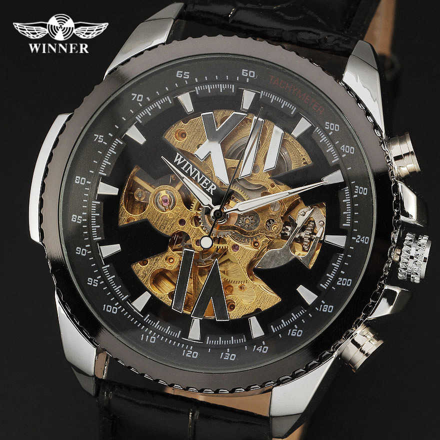 Top Brand Winner 2016 New Skeleton Clock Military Style Leather Strap Watch Men Gift Famouse Mechanical