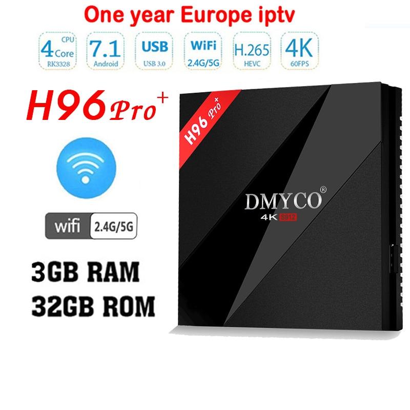 H96 pro+Plus Android 7.1 TV Box Amlogic S912 Octa Core 3GB/32GB 4K HD Smart TV Box 2.4G/5G Wifi BT 4.1 Media Player+ 1 year iptv genuine beelink gt1 ultimate tv box android 7 1 amlogic s912 octa core ddr4 smart tv box bt 4 0 5g wifi android tv tv box