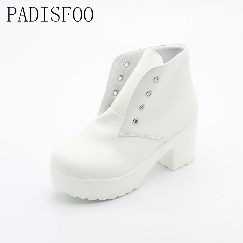 PADISFOO Women White black Boots Special heavy-bottomed Boots Muffin Boots Cross Straps Punk Thick high-heeled Boots .DFGD-07B3