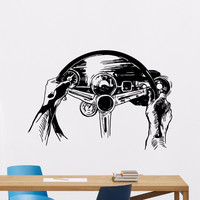 Steering Wheel Wall Decal Rally Racing Car Vinyl Sticker Club Dorm Home Living Room Interior Art