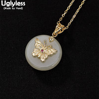 Uglyless 100% Real Solid 925 Sterling Silver Handmade Gold Plated Butterfly Pendants for Women Jade Button Necklaces NO Chains