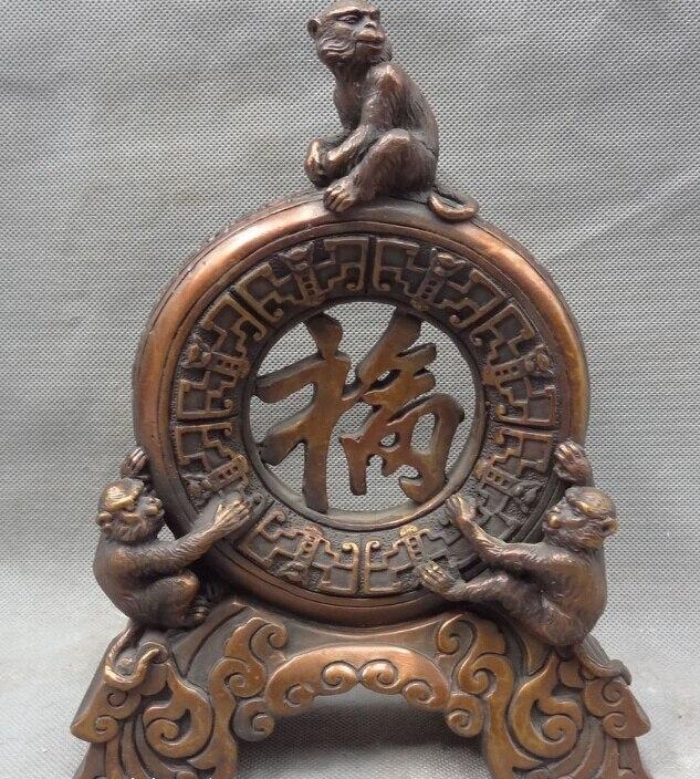 "8"" Chinese Pure Bronze Decoration Zodiac FengShui Fu Zi 3 Monkey King Statue|statue mars|statue gifts|statue angel - title="