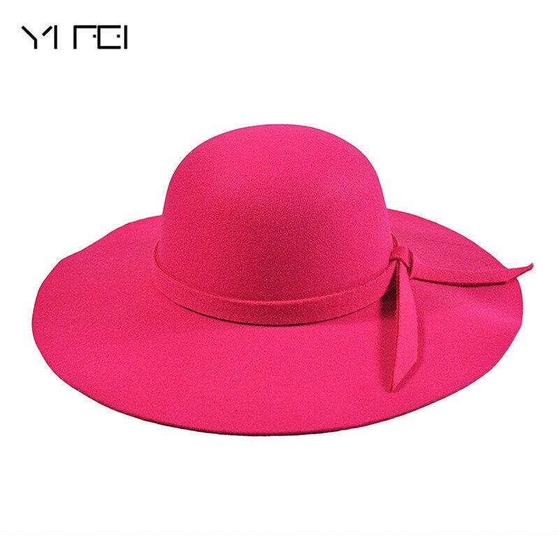 YIFEI New Pillbox Hat Women s Wide Brim Felt Bowler Fedora Hat Floppy Sun Bowknot Cloche