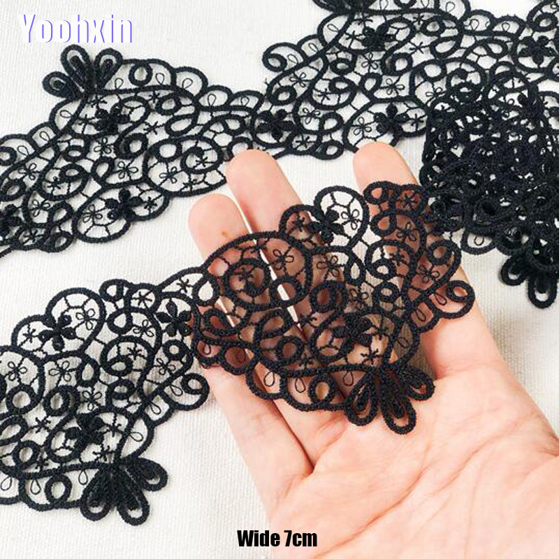 7CM Wide HOT Black Embroidery Flower Lace Fabric Trim Ribbon DIY Sewing Bridal Applique Collar Dubai Guipure Dress Wedding Decor