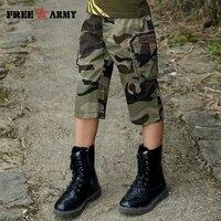 FreeArmy Marka Dzieci Spodenki Chłopcy Camouflage Camo Cargo Spodnie Letnie Spodnie Bawełniane Dla Dzieci dla Chłopców Loose Wojskowy Armia Szorty