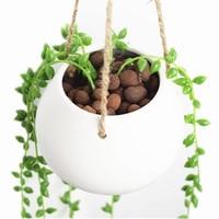 ホワイトミニ装飾セラミック吊りプランター植木鉢水プランター植物花