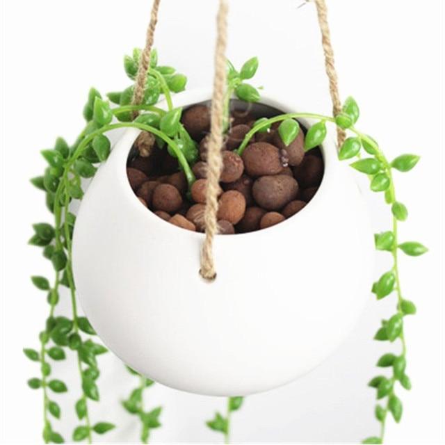 White Mini Decorative Ceramic Hanging Planter Flower Pot Water Plant Vase