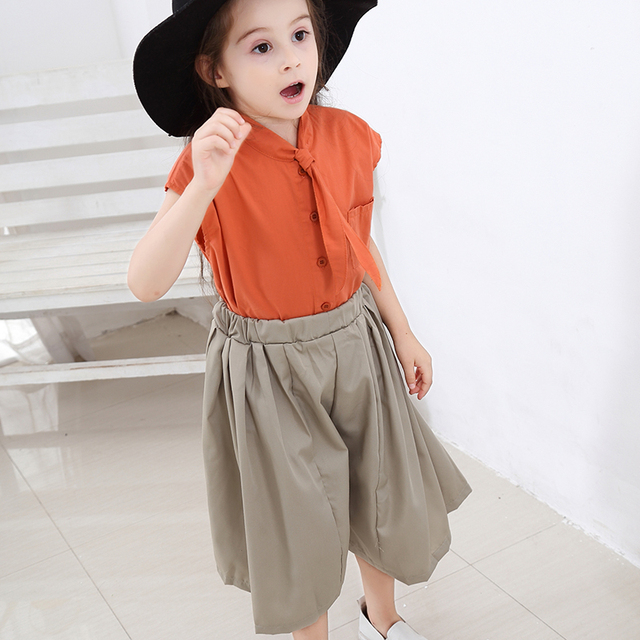 2019 Teen Clothes Suit Elegant Clothing Set For Girls Summer Sailor Collar Children's Clothes 6 8 10 Years Costume For Girls 4