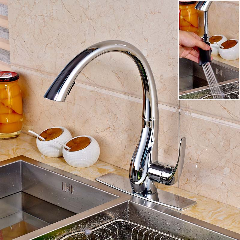 Luxury Kitchen Sink Faucet Chrome Finished Deck Mounted Swicel Spout Pull Out Mixer Tap with Cover Plate good quality wholesale and retail chrome finished pull out spring kitchen faucet swivel spout vessel sink mixer tap lk 9907