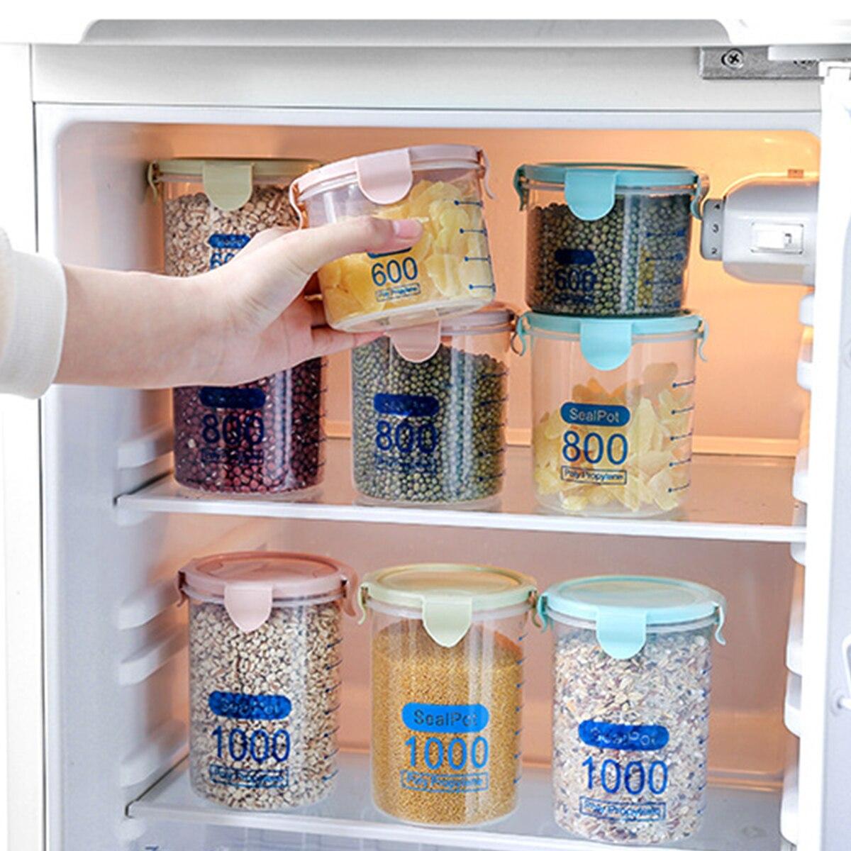 Moistureproof Kitchen Storage Box Sealing Food Preservation Plastic Fresh Pot Container Transparent Sealed Crisper Set Plastic
