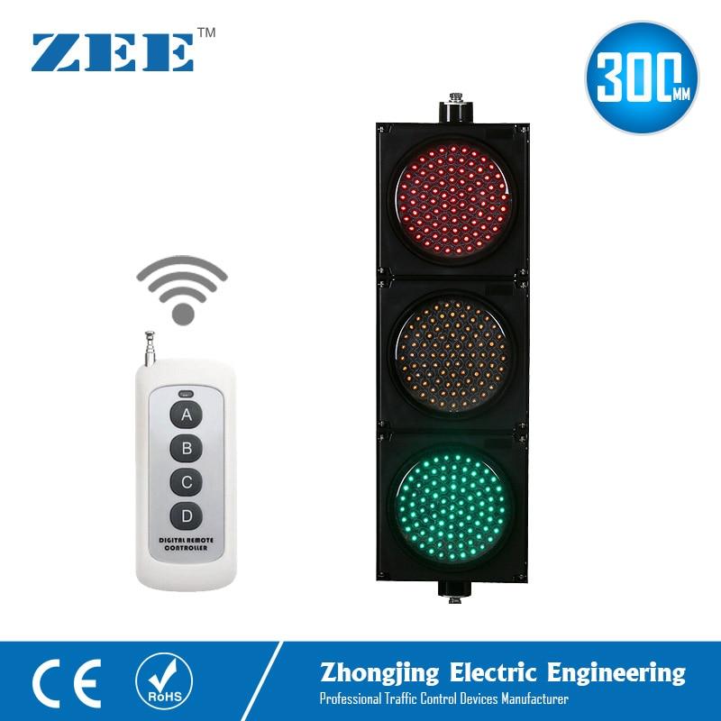 220V 12V 24V Wireless Control LED Traffic Light 12inches 300mm LED Traffic Signal Light Red Green Amber Traffic Signals