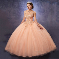 Cheap Masquerade Ball Gowns Peach Quinceanera Dresses 2017 Sparkly Sweet 16 Dresses Gold Applique With Removable