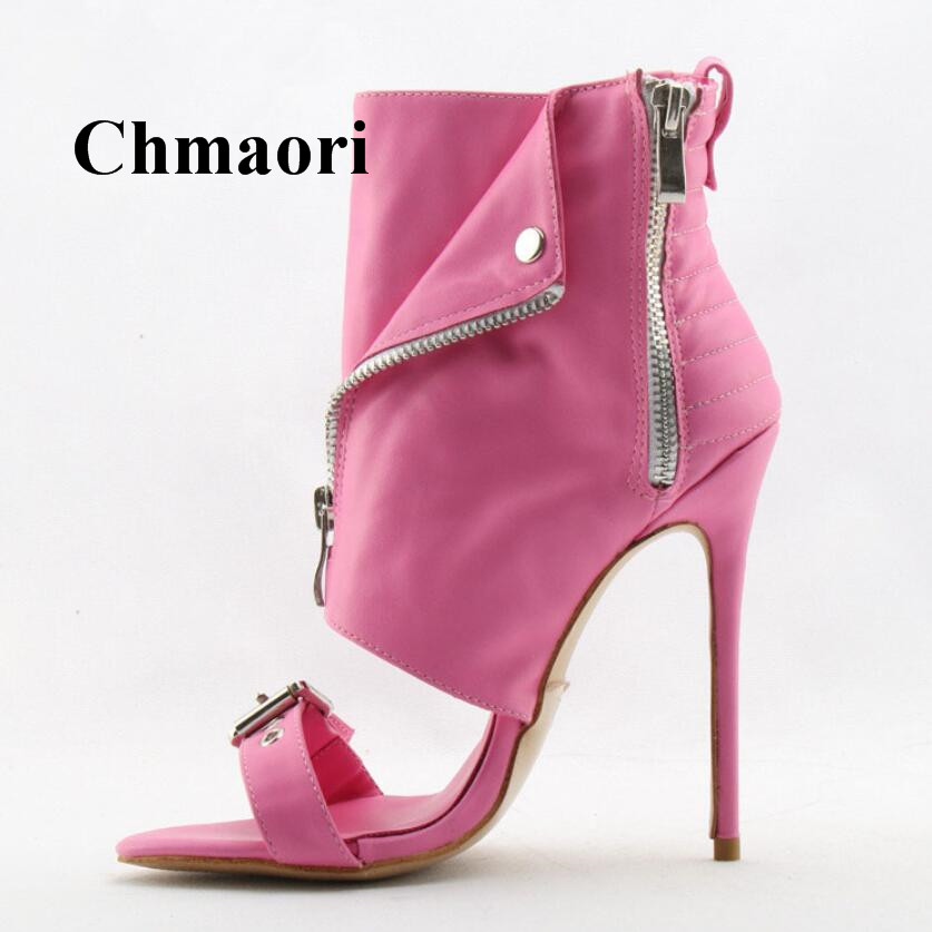 Spring And Autumn Fashion Zipper Open Toe Sexy Thin High Heel Pink Gold Black White And Red Colors Women Ankle Boots Normal Size spring and autumn women rivets boots fashion black red round toe high heel ankle boots for ladies female sexy thin heel shoes