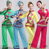 New Red Women Ladies Ancient Chinese National Costume Female Traditional Chinese Yangko Dance Costumes Classic Stage