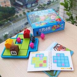 Crianças esconder e procurar jogo de estratégia brinquedo três porquinhos e lobo 48 desafios com solução de raciocínio lógico brinquedo de treinamento