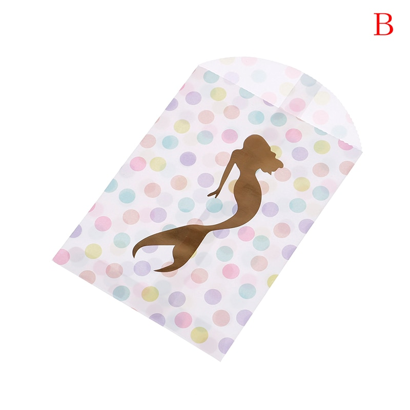 Event & Party Festive & Party Supplies 10pcs/lots Kraft Paper Candy Bags Rainbow Color Mermaid Gift Bags For Baby Shower Party Food Packaging Party Supplies Skillful Manufacture