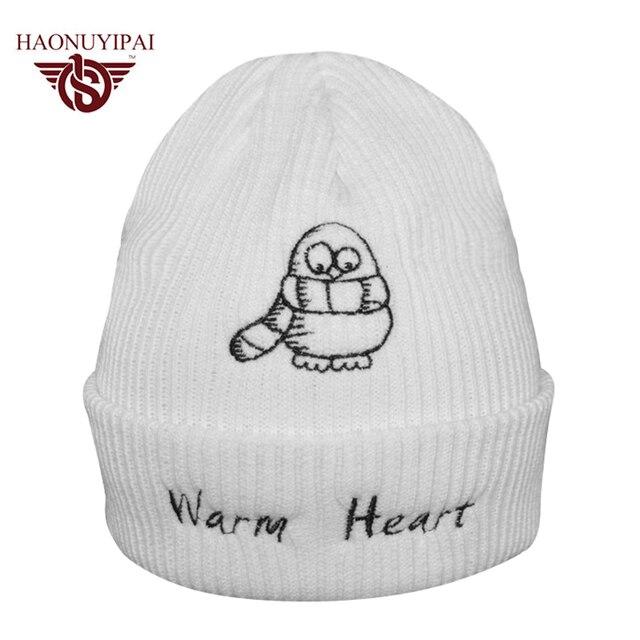 f1d3690f1e913 Unisex Brand Fashion Winter Knit Caps Customized Cartoon Warm Heart Striped  Hats Adult Casual Sport Skullies Beanies CX005