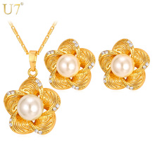 U7 New Rhinestone Flower Jewelry Set Gold Plated Trendy Simulated Pearl Jewelry Earrings Necklace Set For Women S826