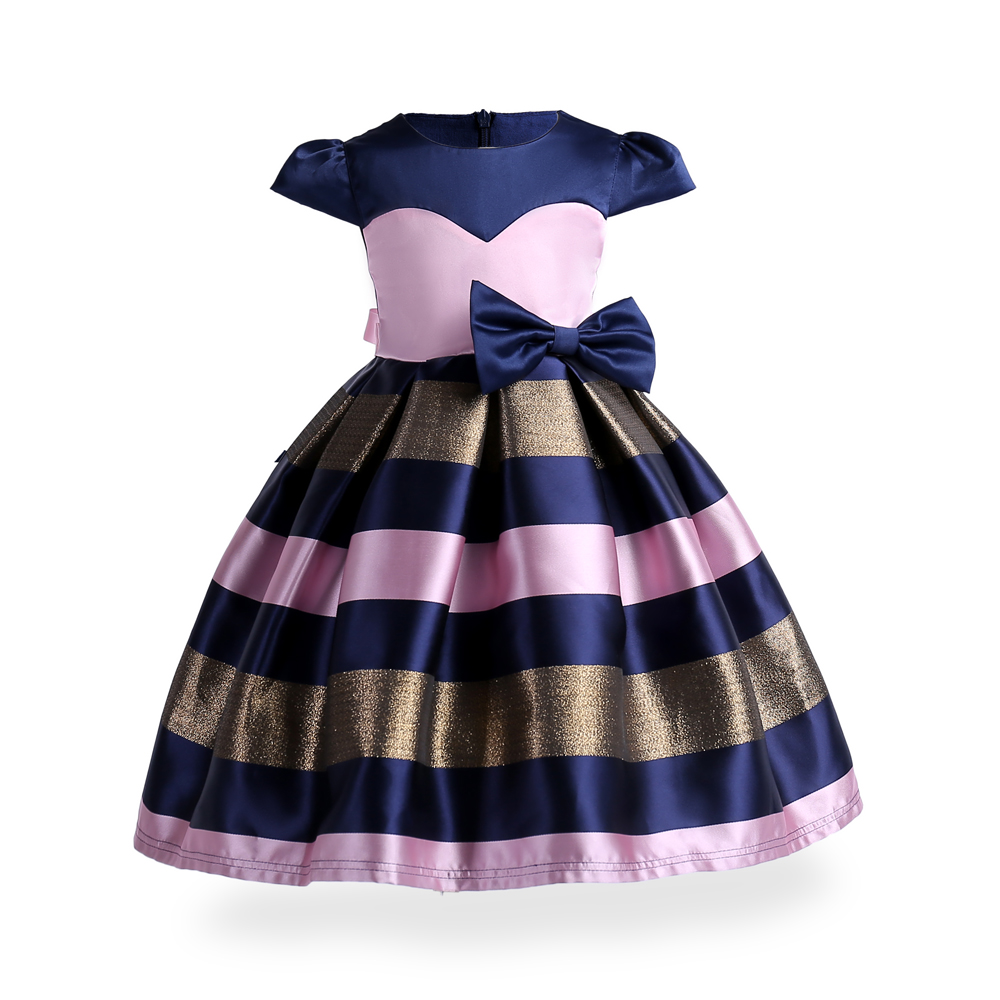 ZT2001 Summer Stripe Princess Dresses Kids Prom Gown Evening Dresss Wedding Party Dress Girls Clothes Tulle Childrens Costume