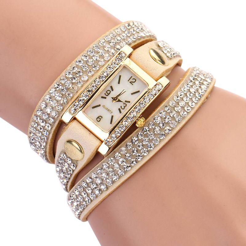Women Watches Rhinestone Retro Luxury Women Diamonds Multilayer Bracelet Quartz Wristwatches Rectangle Crystal Clocks 1